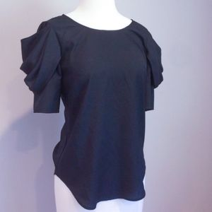 Anthropologie Black Puff Sleeve Blouse